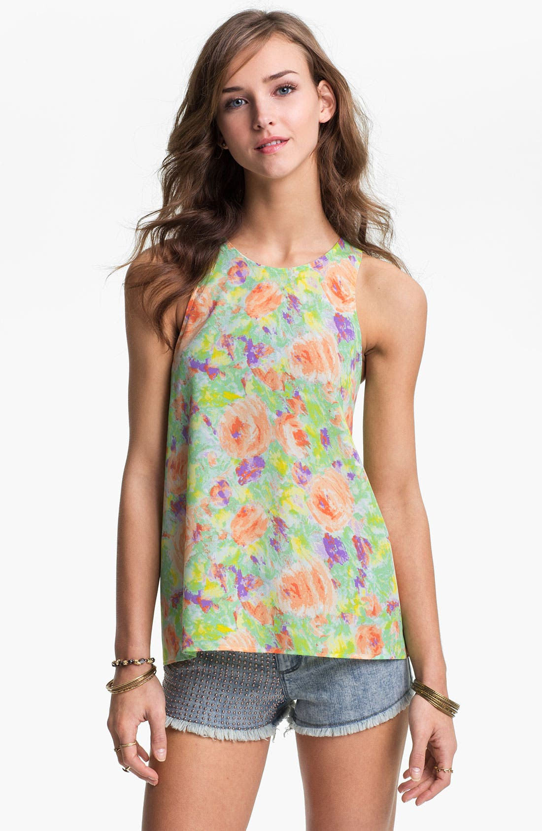 Alternate Image 2  - Lush Lace-Up Back Floral Tank (Juniors)