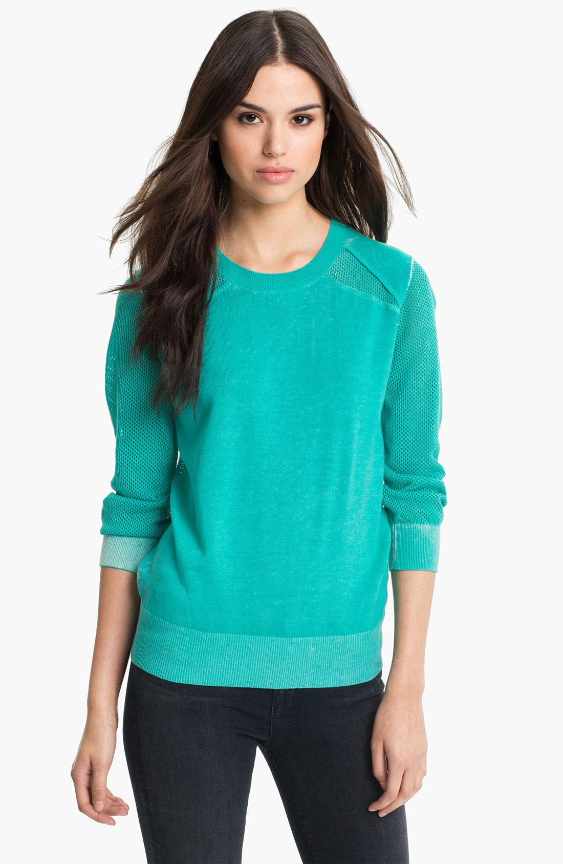 Alternate Image 1 Selected - Rebecca Minkoff 'Ontario' Mesh Panel Sweater