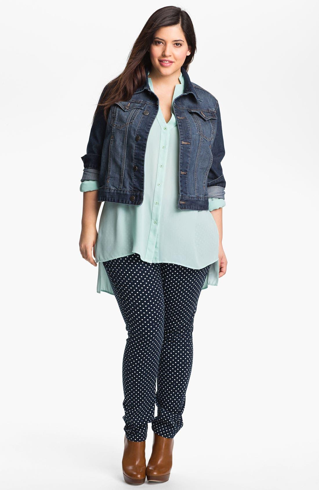 Alternate Image 4  - Jag Jeans Polka Dot Slim Ankle Jeans (Plus Size)