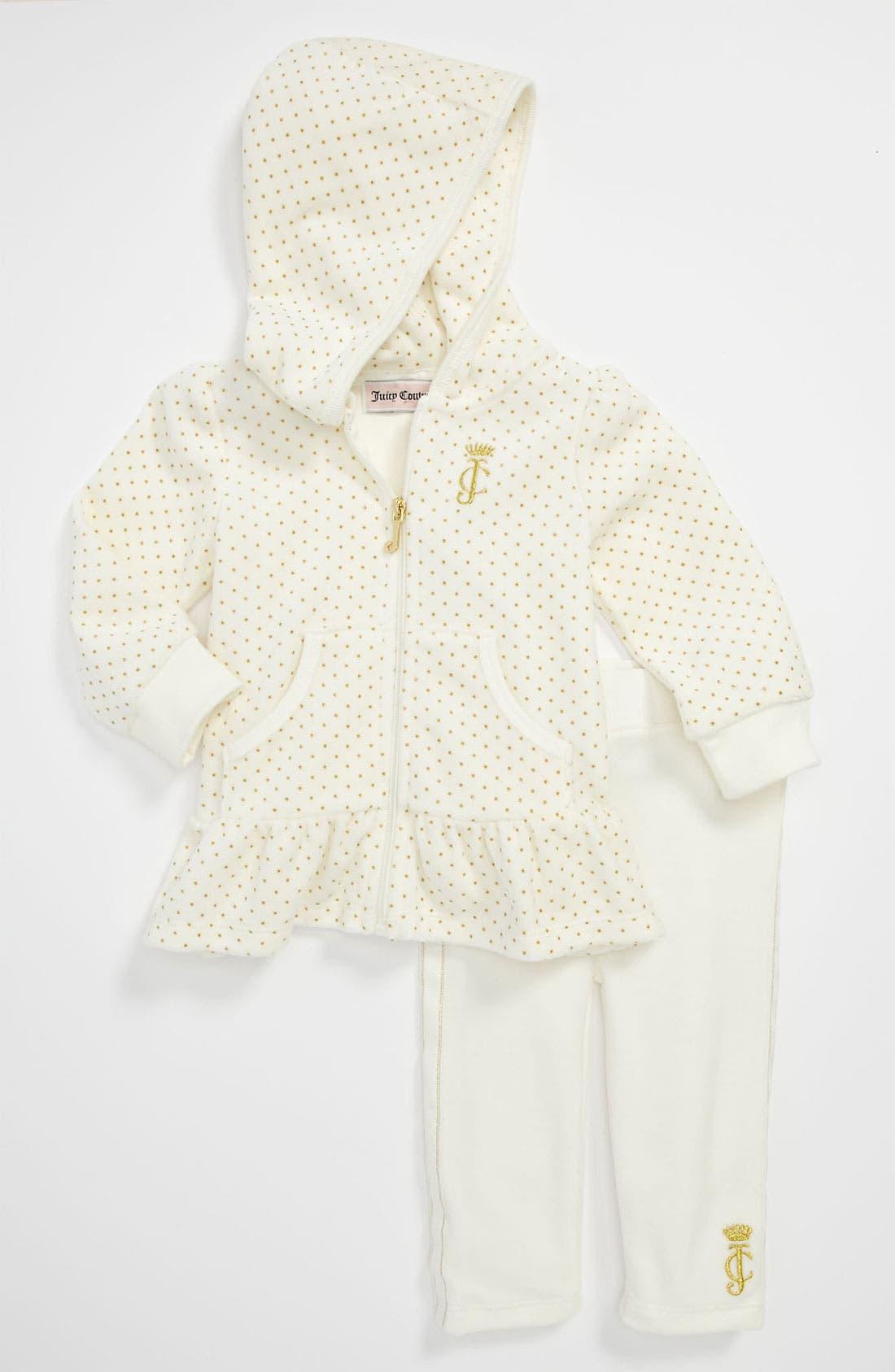 Main Image - Juicy Couture Velour Hoodie & Leggings (Infant)