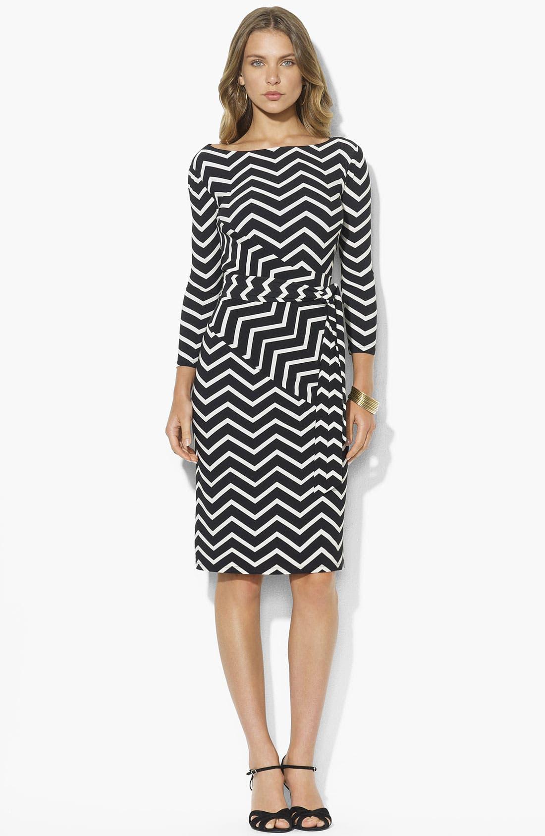 Alternate Image 1 Selected - Lauren Ralph Lauren Contoured Stripe Sheath Dress