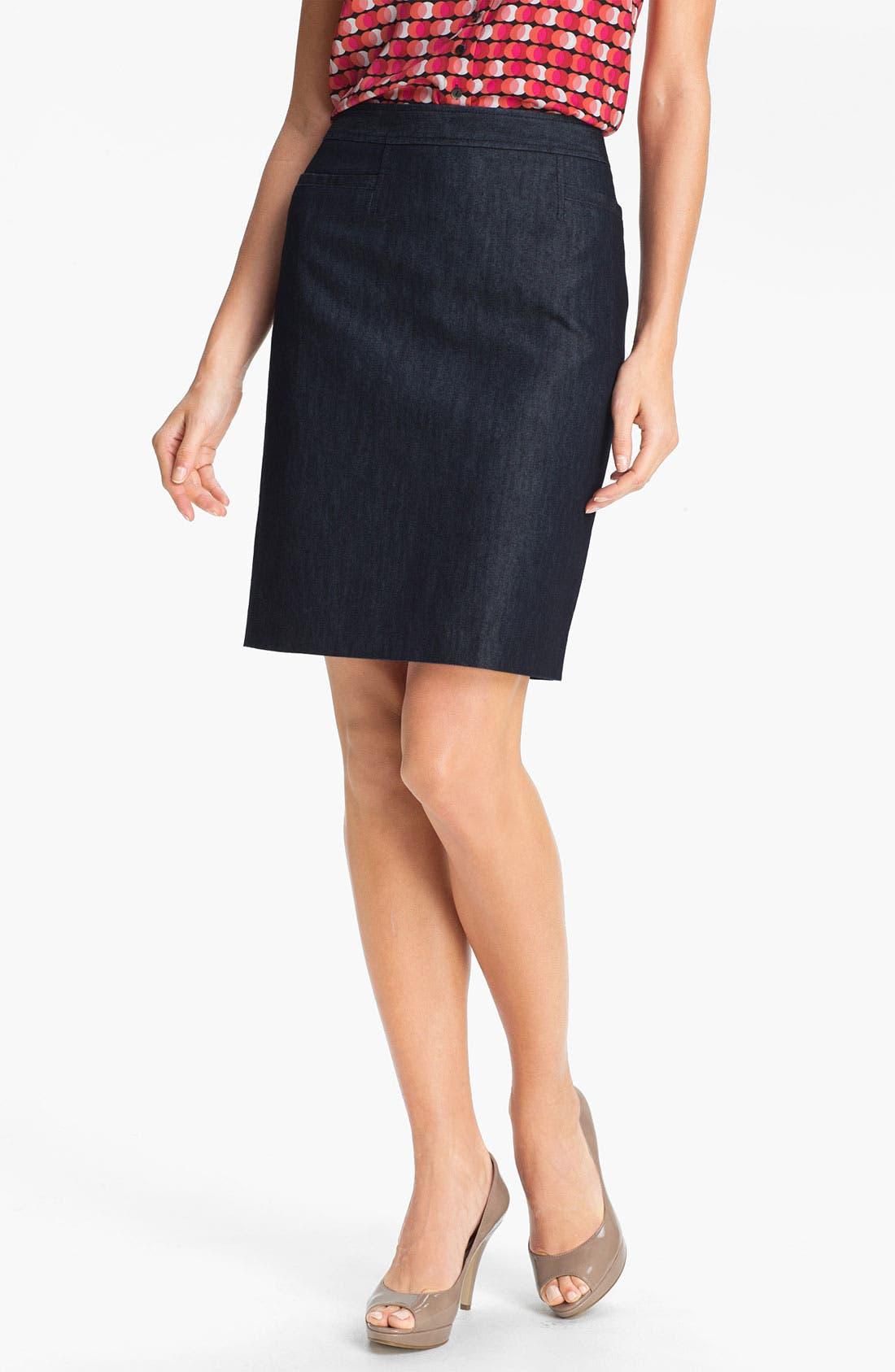 Alternate Image 1 Selected - Halogen® Stretch Woven Skirt (Regular & Petite)