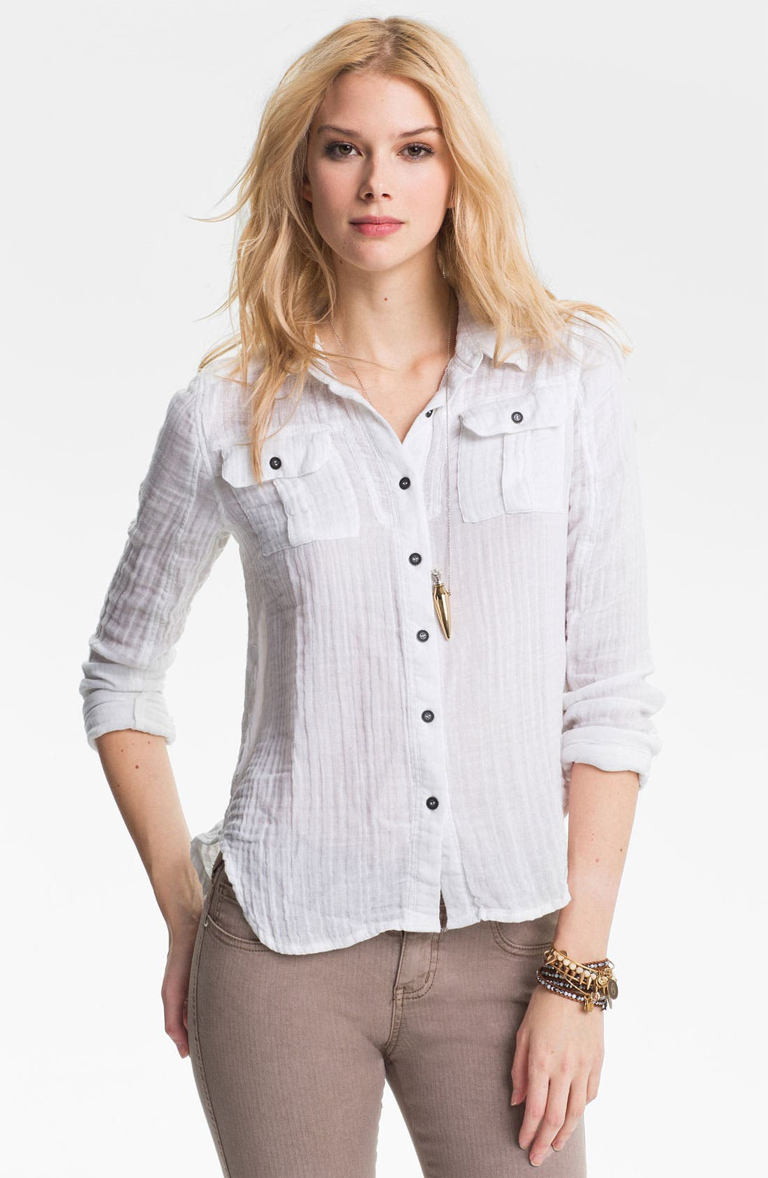 Main Image - Free People 'Tried and True' Cotton Gauze Shirt