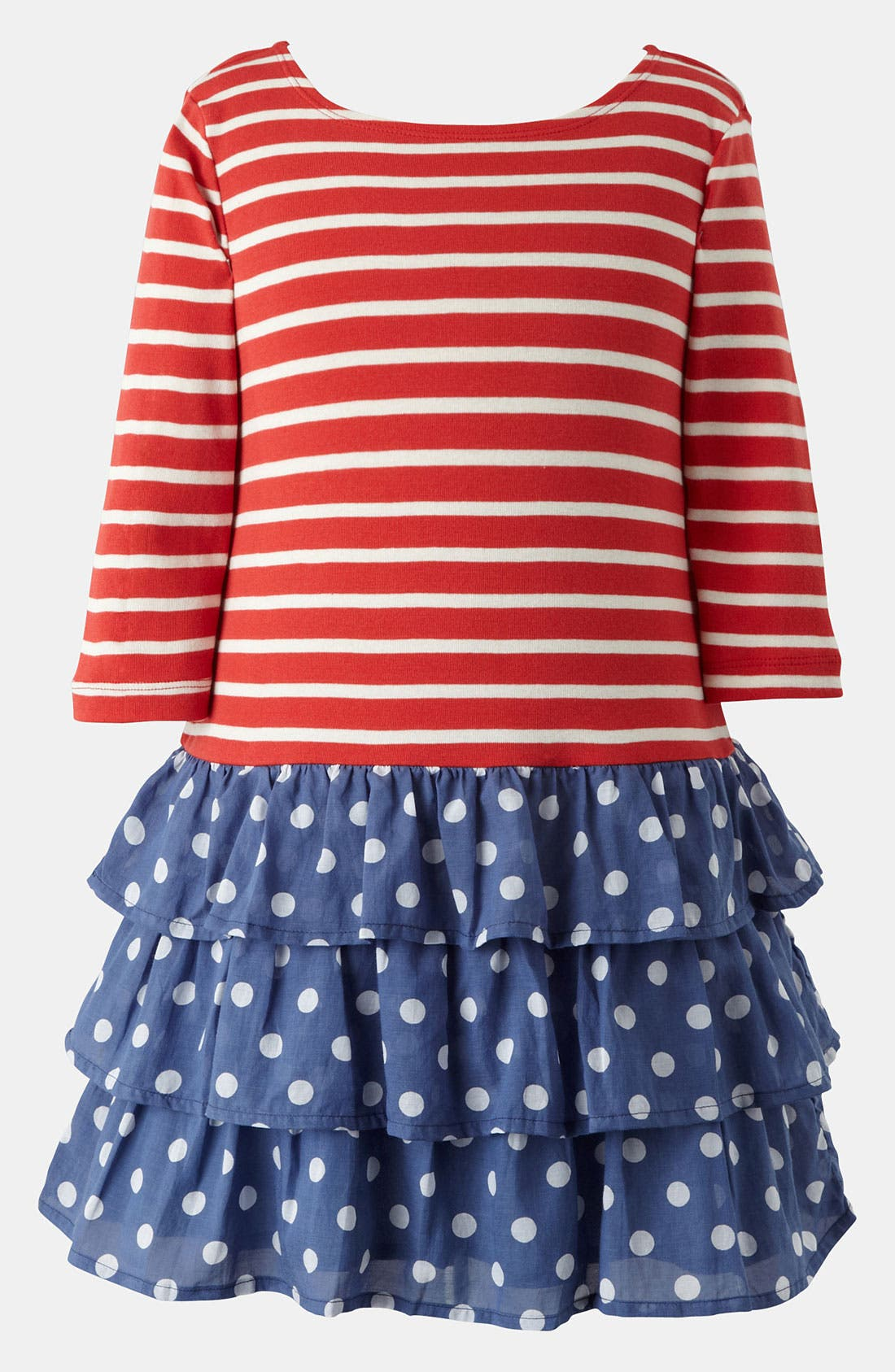 Alternate Image 1 Selected - Mini Boden 'Stripy' Ruffle Dress (Little Girls & Big Girls)