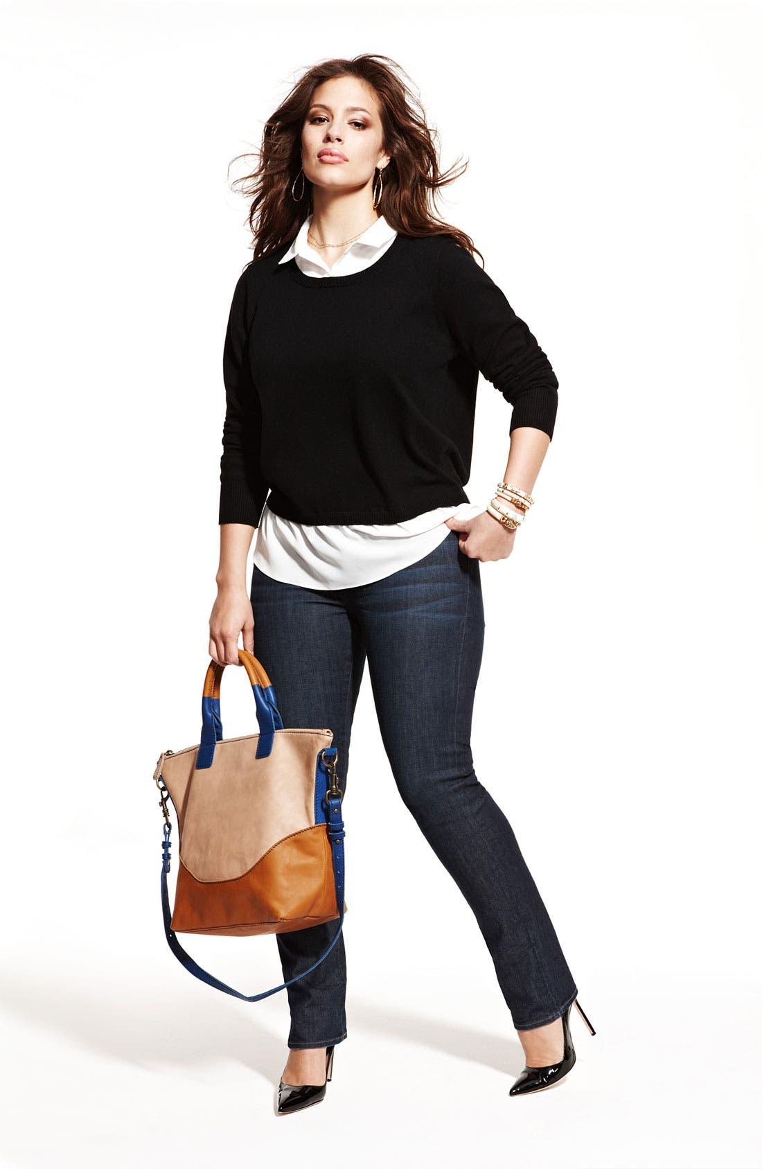 Alternate Image 5  - Lucky Brand 'Ginger' Straight Denim Jeans (Plus Size)