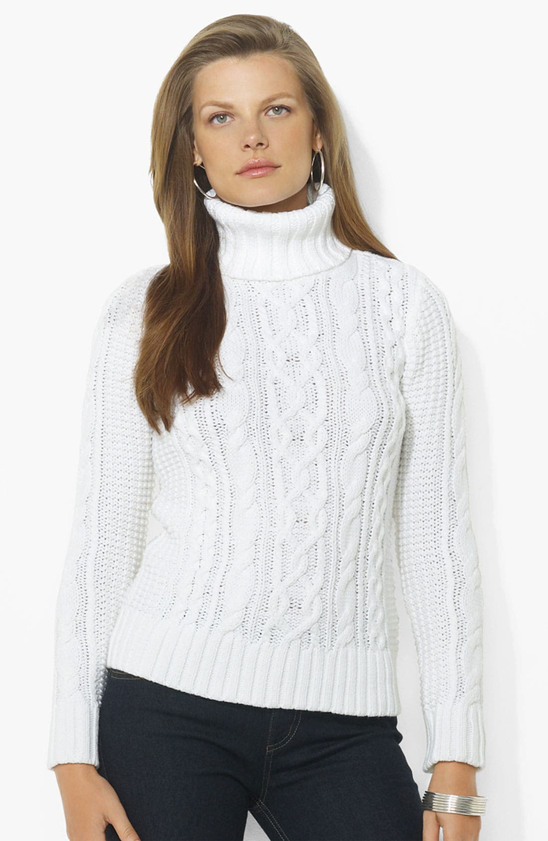 Main Image - Lauren Ralph Lauren Turtleneck Cable Sweater