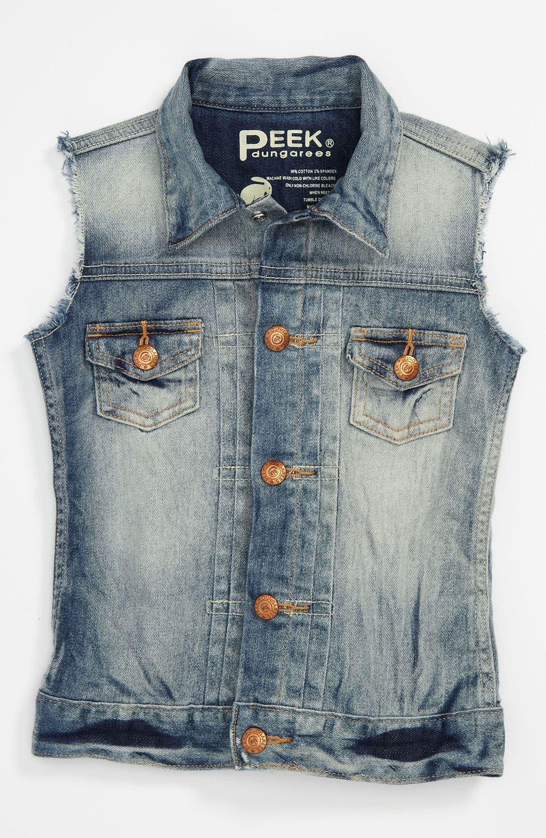 Alternate Image 1 Selected - Peek 'Wren' Denim Vest (Toddler, Little Girls & Big Girls)