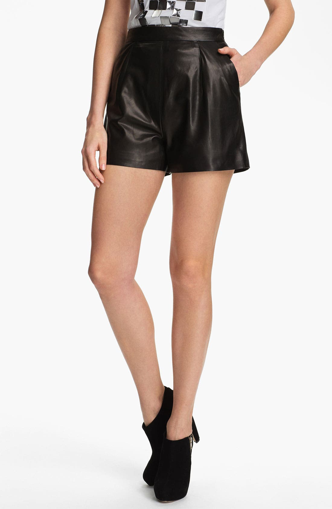 Main Image - Milly 'Kelsey' Leather Shorts