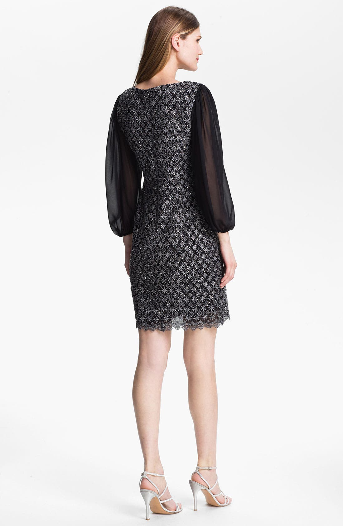 Alternate Image 2  - Patra Metallic Lace Sheath Dress (Petite)
