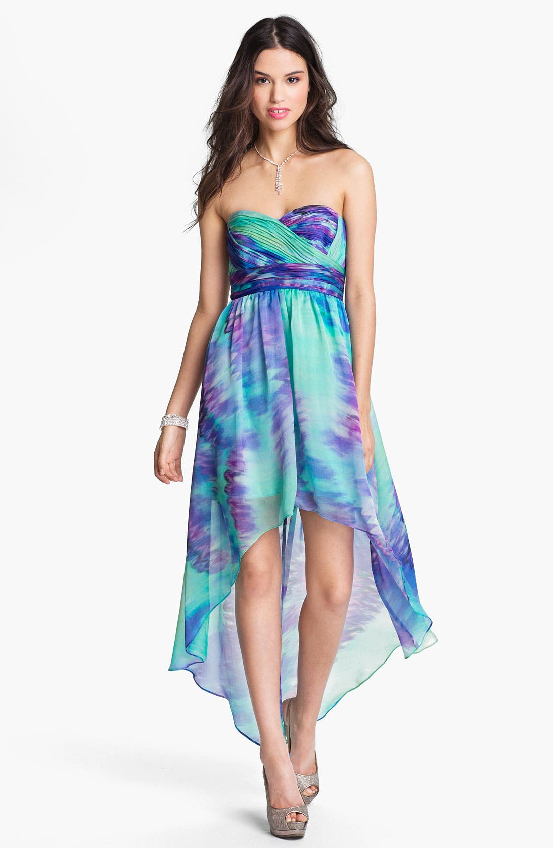 Alternate Image 1 Selected - JS Boutique Strapless High/Low Dress