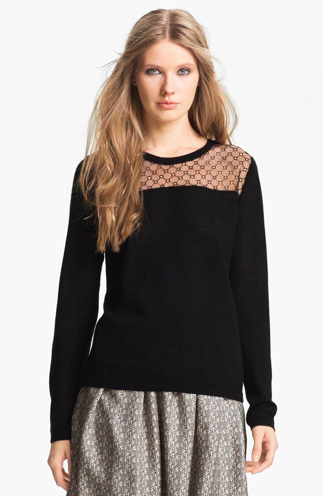 Alternate Image 2  - Miss Wu 'Sofie' Lace Yoke Cashmere Sweater (Nordstrom Exclusive)