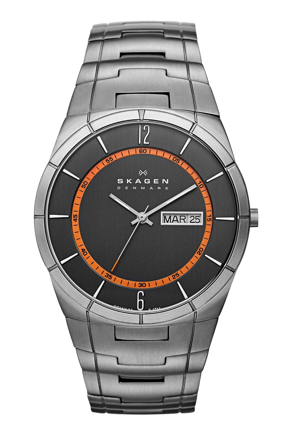Alternate Image 1 Selected - Skagen 'Titanium' Orange Accent Watch, 40mm