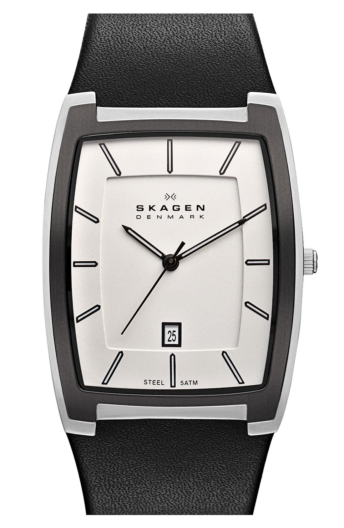 Main Image - Skagen Rectangular Leather Strap Watch, 34mm x 46mm