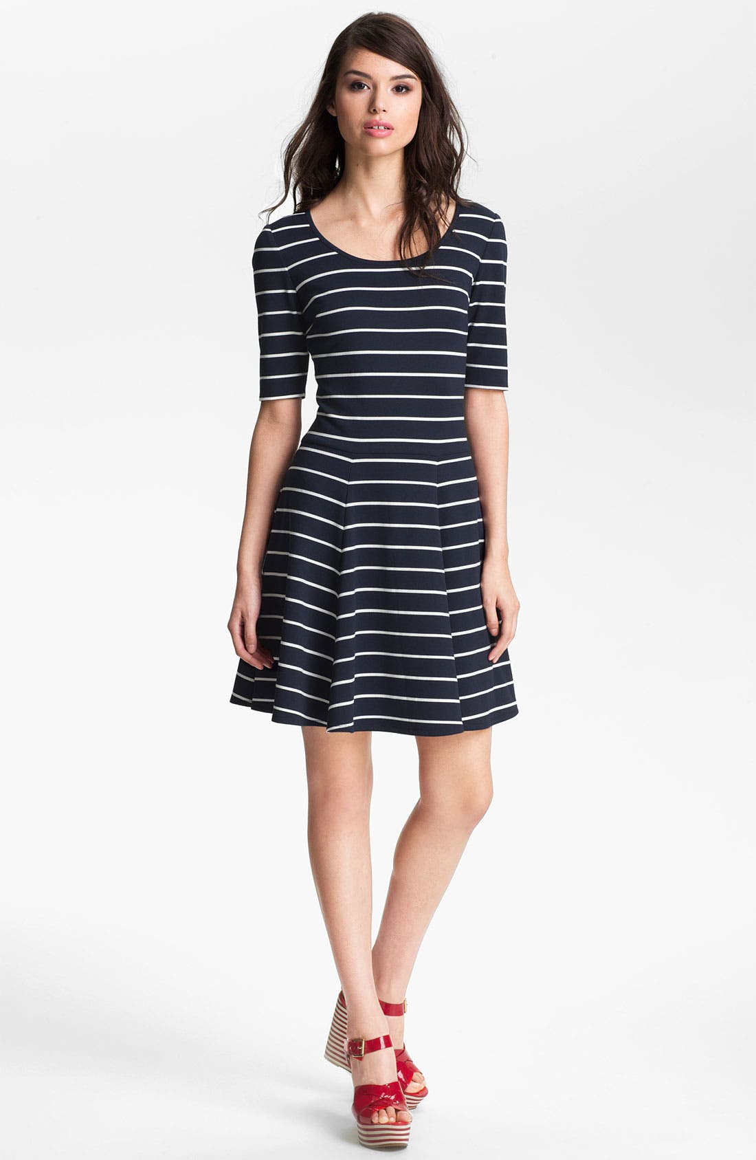 Alternate Image 1 Selected - Eliza J Stripe Fit & Flare Dress