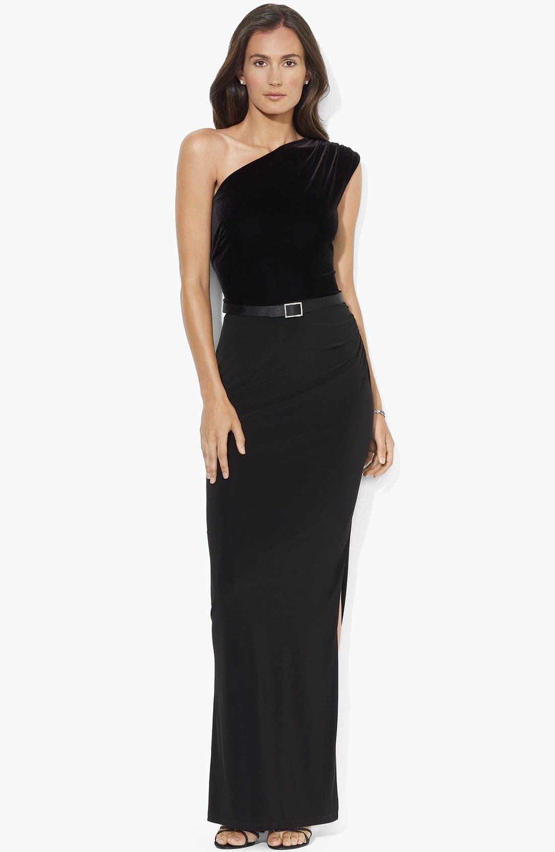 Alternate Image 1 Selected - Lauren Ralph Lauren One Shoulder Velvet Gown (Petite)