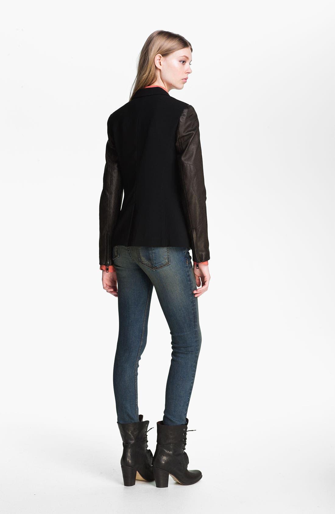Alternate Image 4  - rag & bone Leather Sleeve Moto Blazer