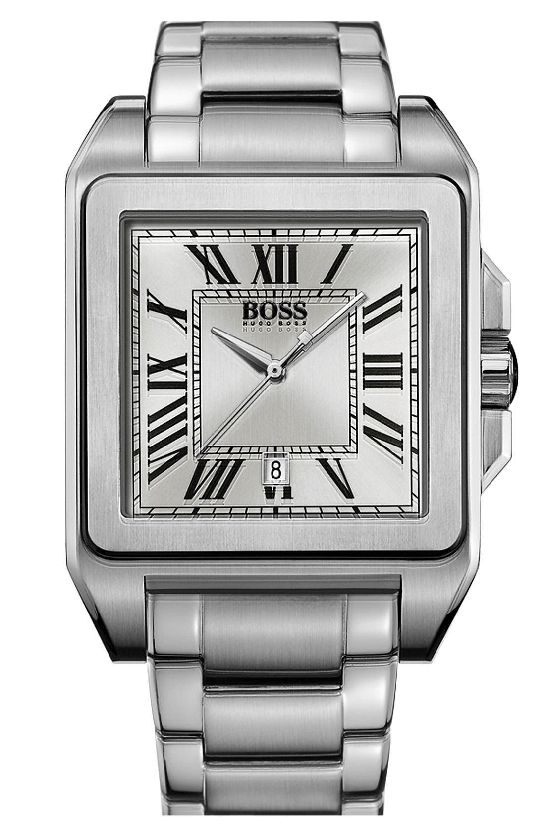 Alternate Image 1 Selected - BOSS HUGO BOSS Square Bracelet Watch, 40mm