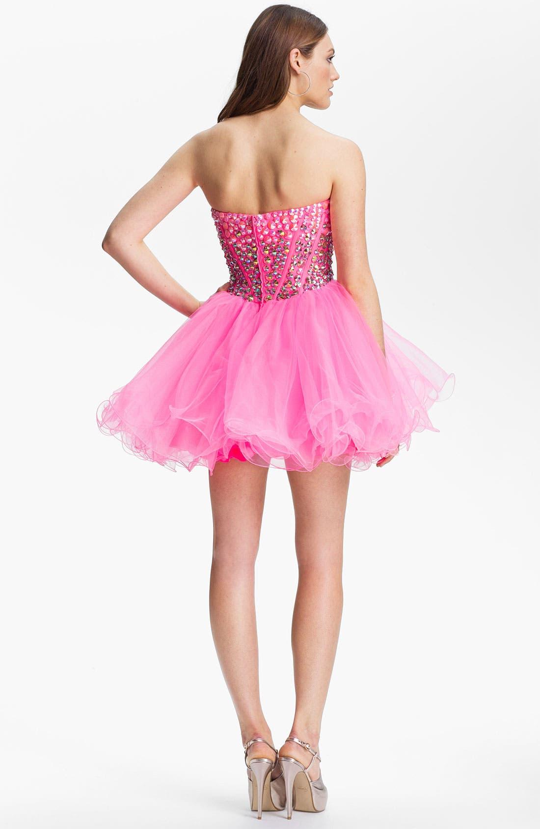 Alternate Image 2  - Sherri Hill Beaded Tulle Babydoll Dress