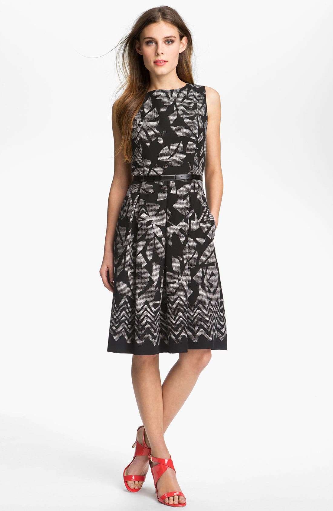 Alternate Image 1 Selected - Tahari Pleated Print Twill Dress