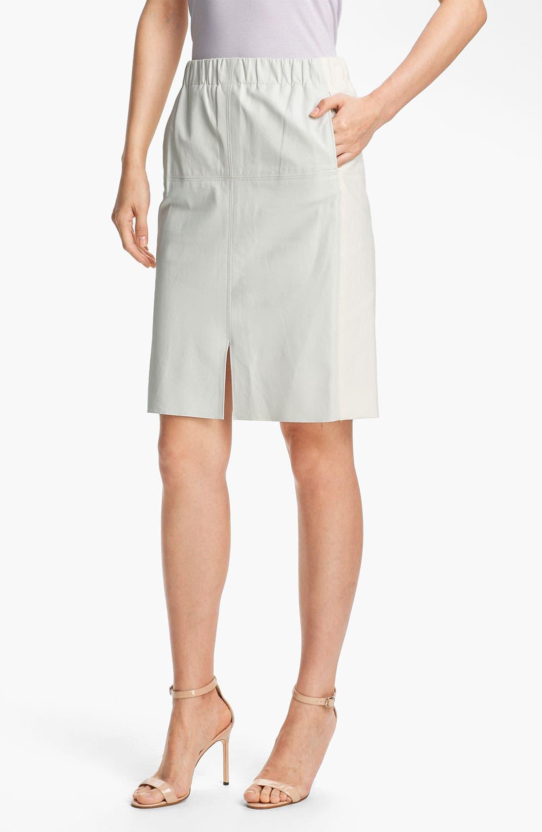 Main Image - Halston Heritage Leather Panel Pencil Skirt