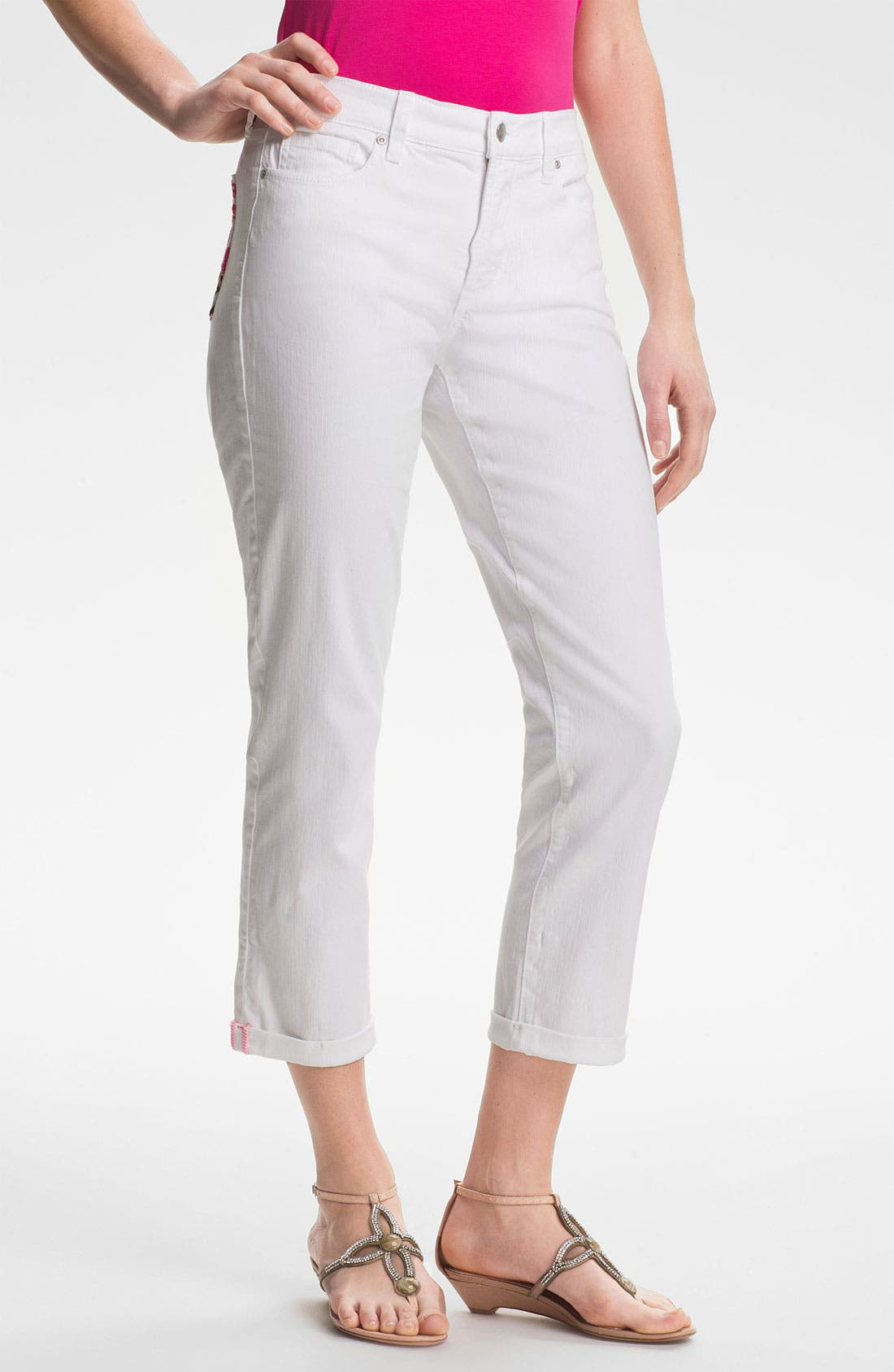Alternate Image 1 Selected - NYDJ 'Kendall' Cuffed Stretch Crop Jeans (Petite)