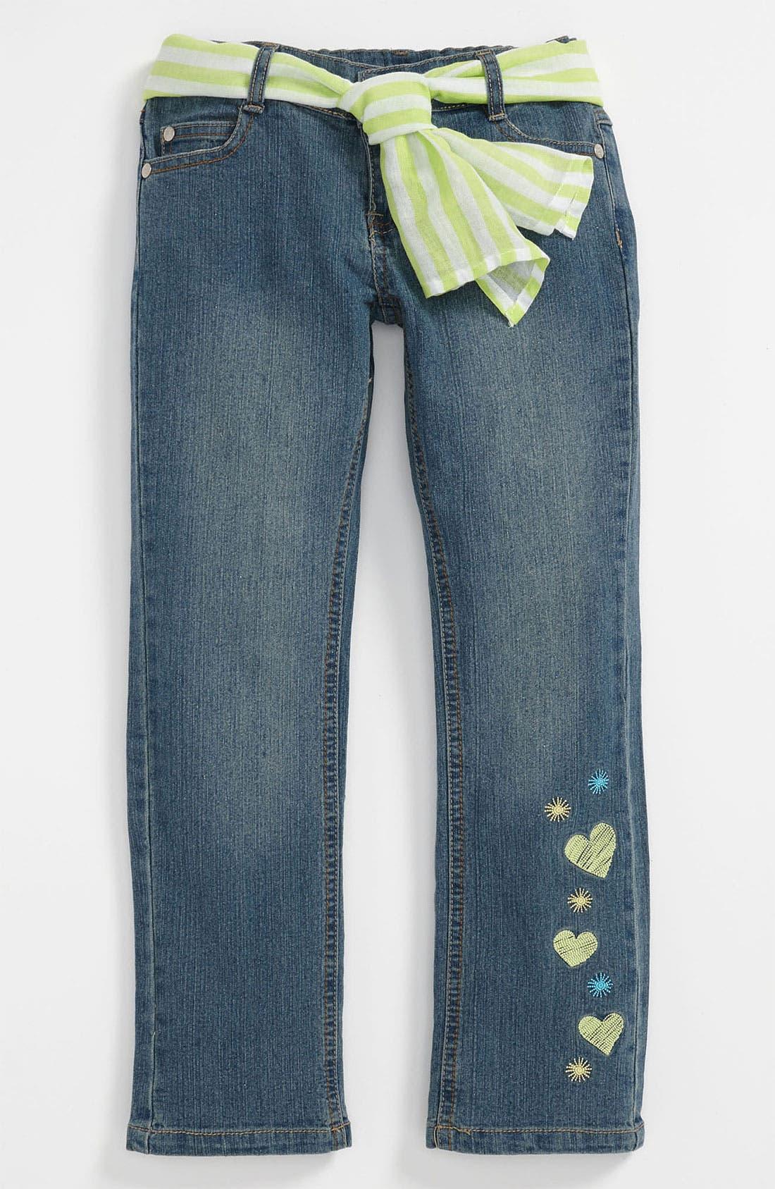 Alternate Image 1 Selected - Pumpkin Patch Embroidered Denim Jeans (Little Girls & Big Girls)