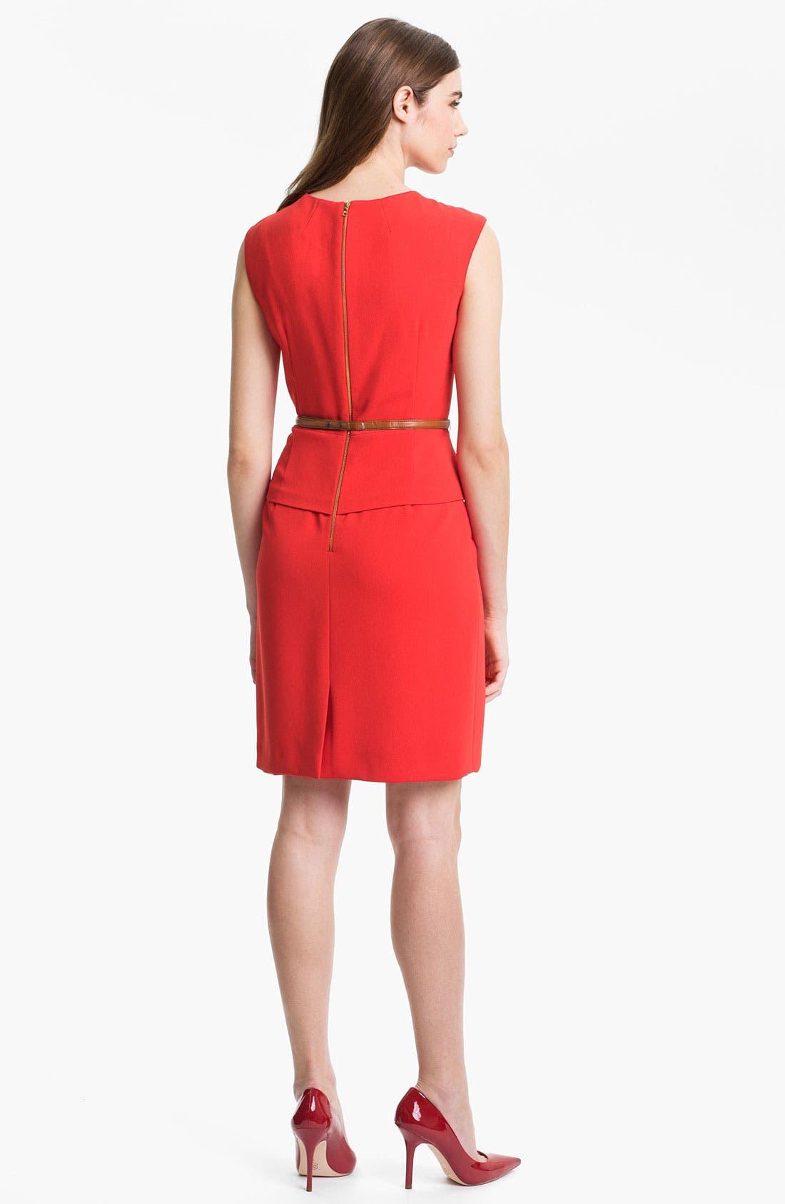 Alternate Image 2  - Tahari Belted Peplum Sheath Dress