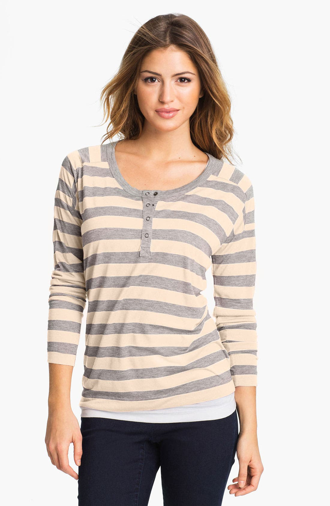 Alternate Image 1 Selected - Two by Vince Camuto Stripe Henley Tee