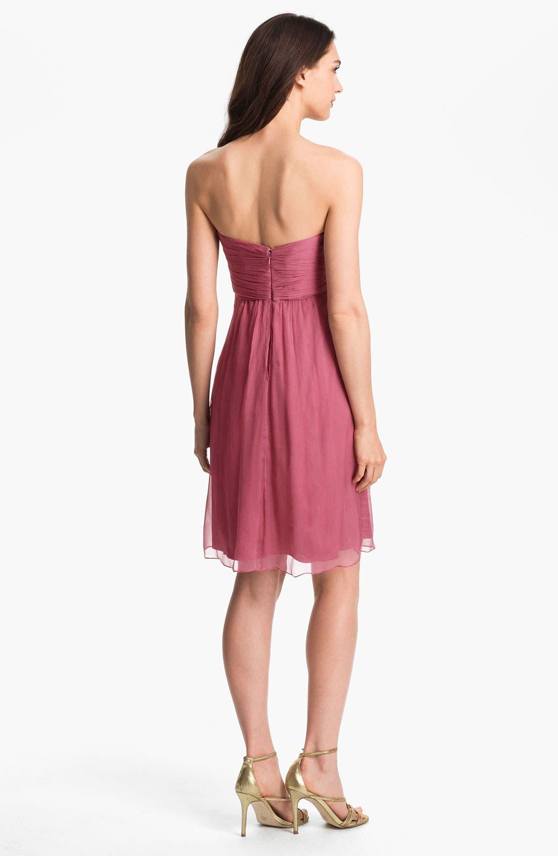 Alternate Image 2  - Amsale Strapless Rosette Detail Silk Chiffon Dress