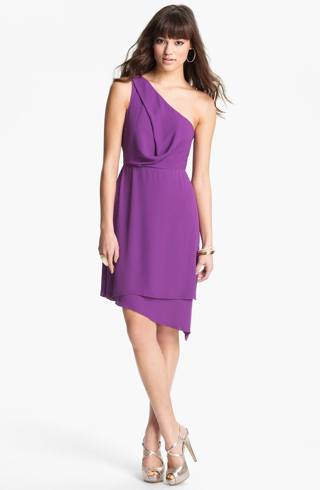Alternate Image 1 Selected - BCBGMAXAZRIA One Shoulder Asymmetrical Chiffon Dress