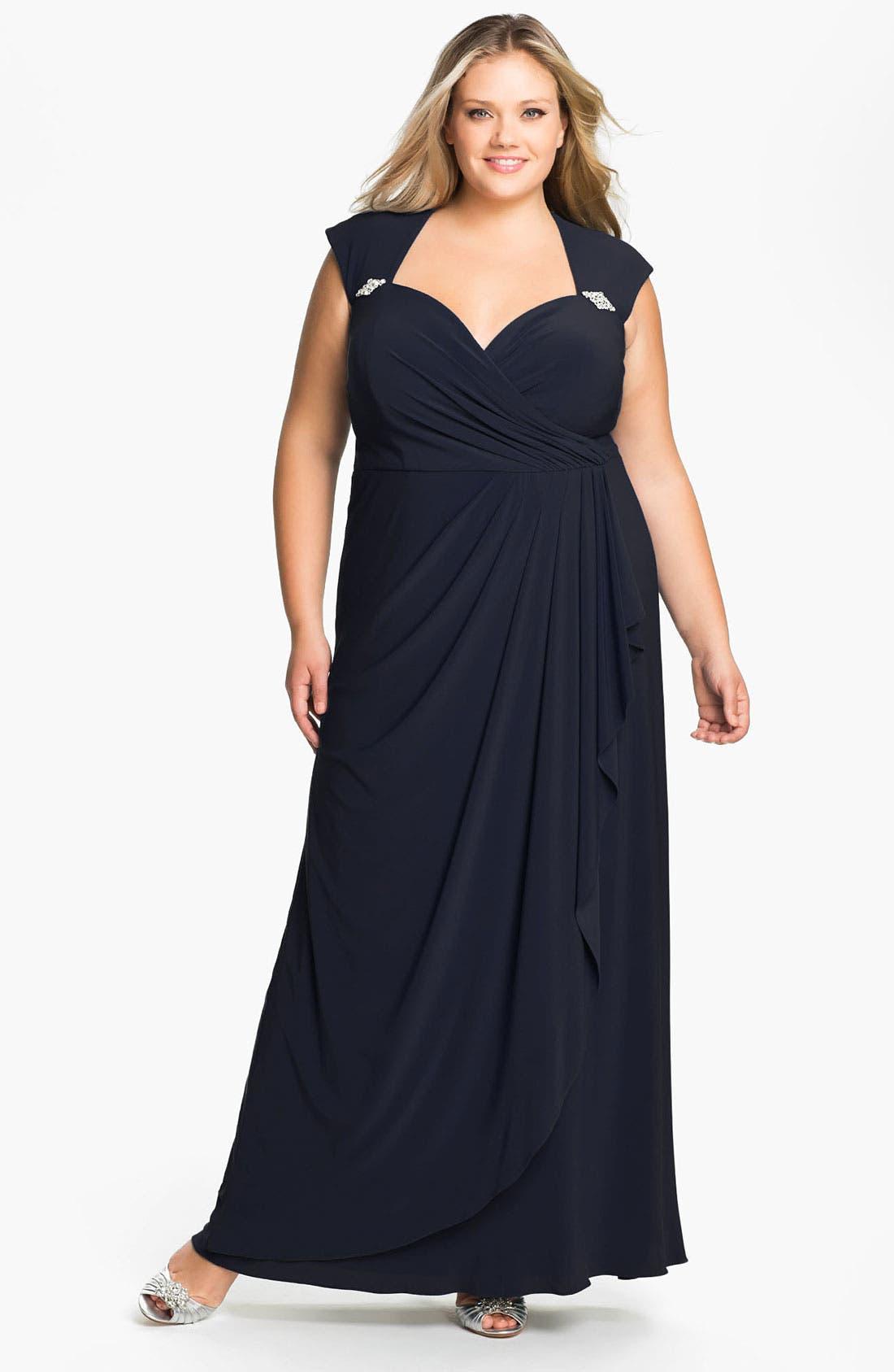 Alternate Image 1 Selected - Xscape Cap Sleeve Draped Mesh Gown (Plus)