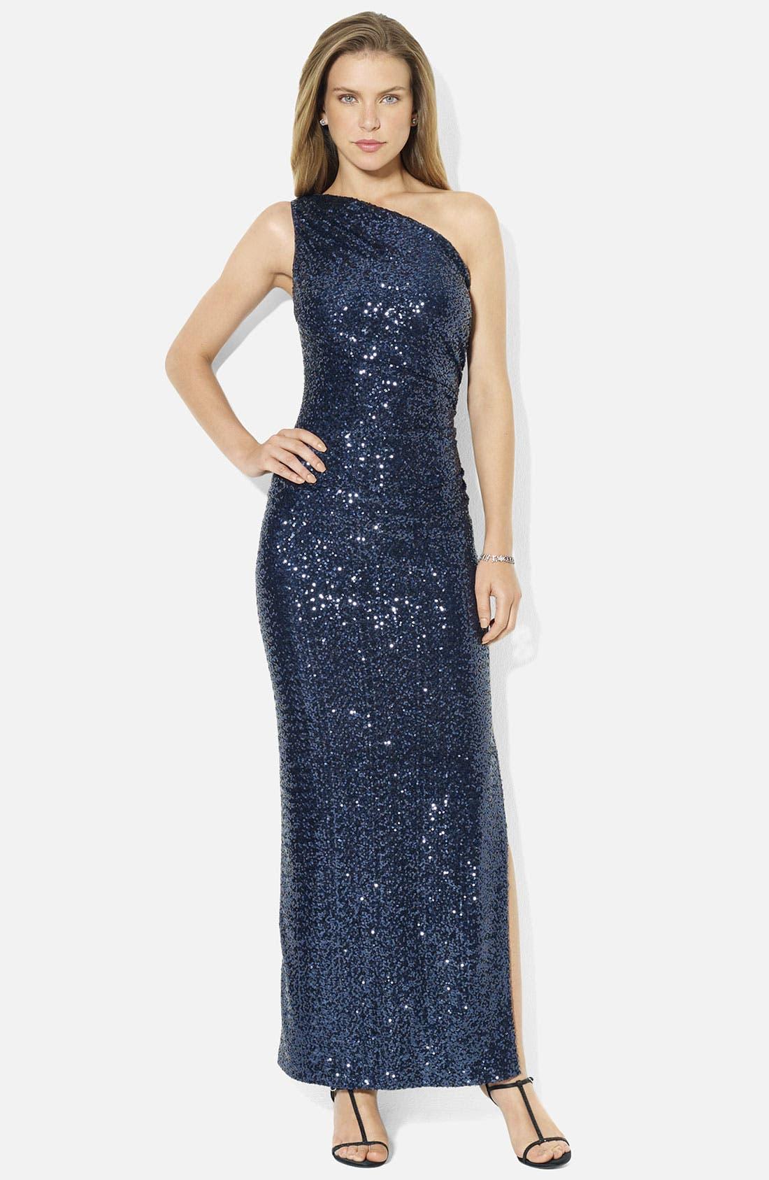 Main Image - Lauren Ralph Lauren One Shoulder Sequin Column Gown