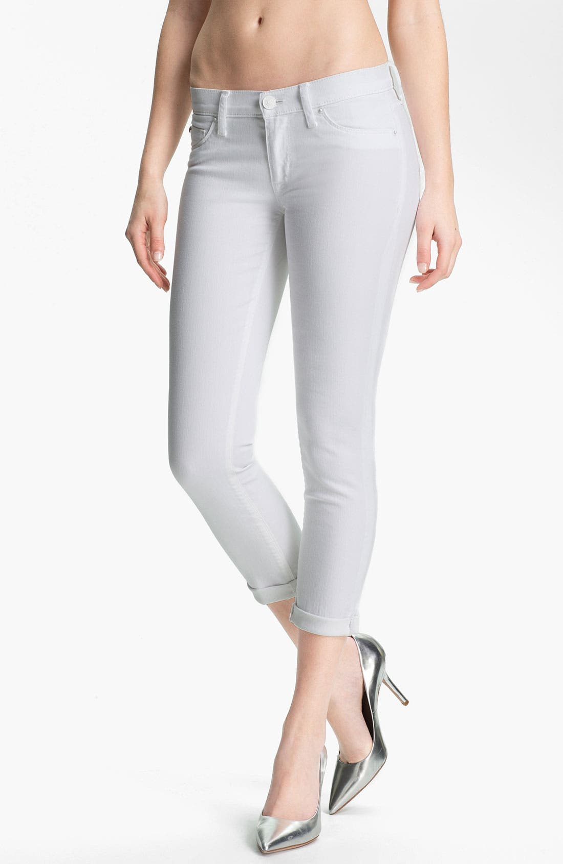 Main Image - Hudson Jeans 'Collette' Cuff Skinny Jeans (White)