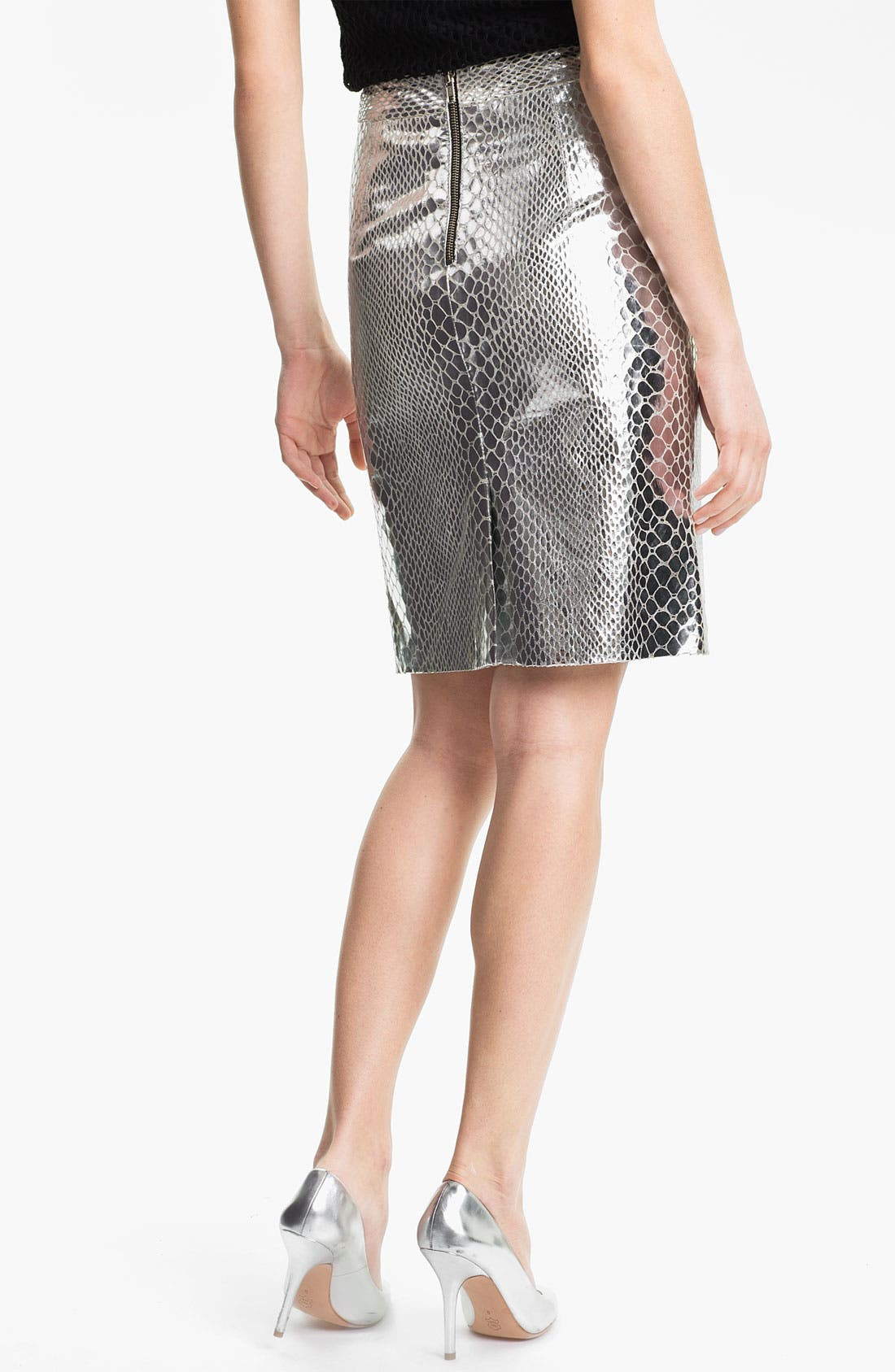 Alternate Image 2  - Milly Metallic Leather Skirt