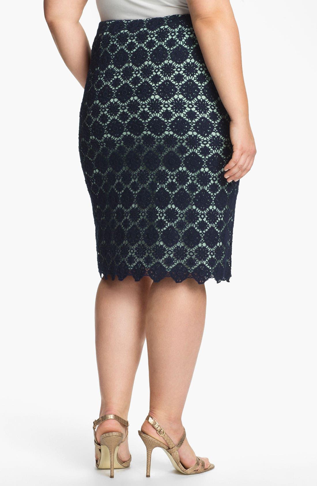 Alternate Image 2  - Vince Camuto Lace Pencil Skirt (Plus)