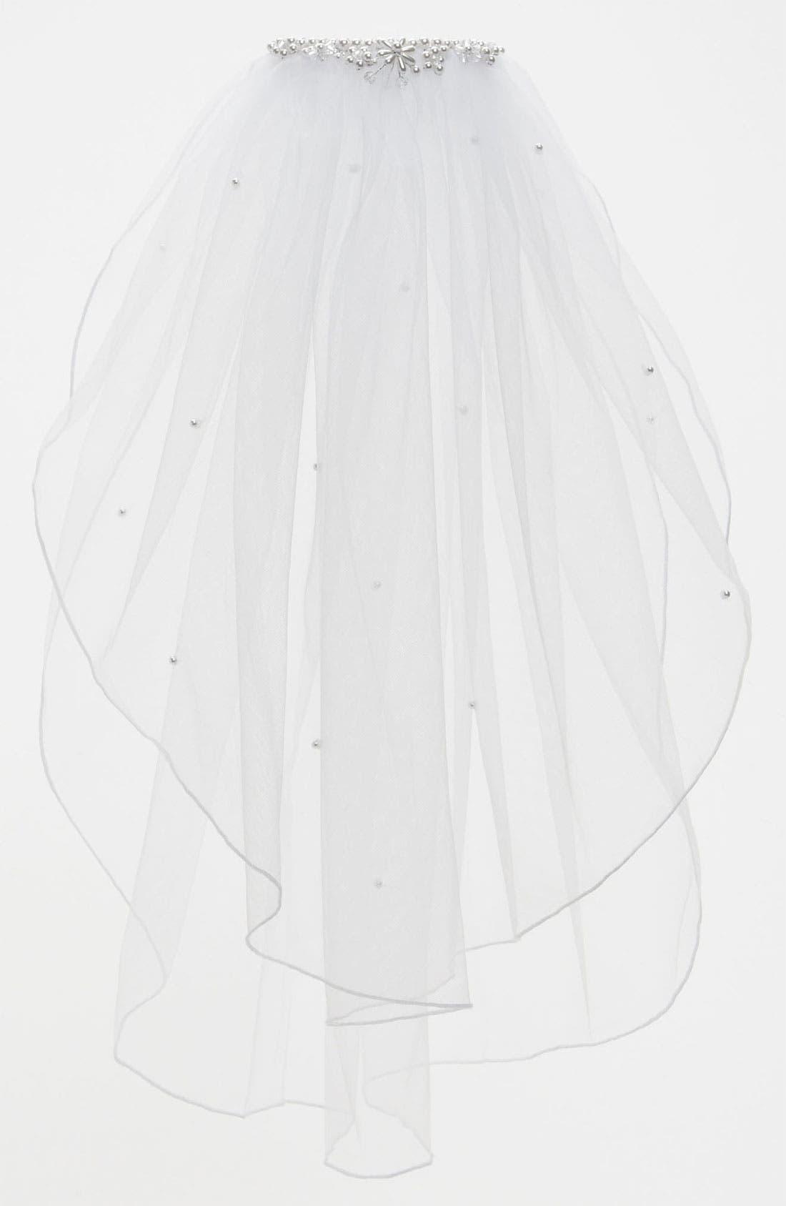 Alternate Image 1 Selected - Lauren Marie Beaded Crown & Veil (Girls)