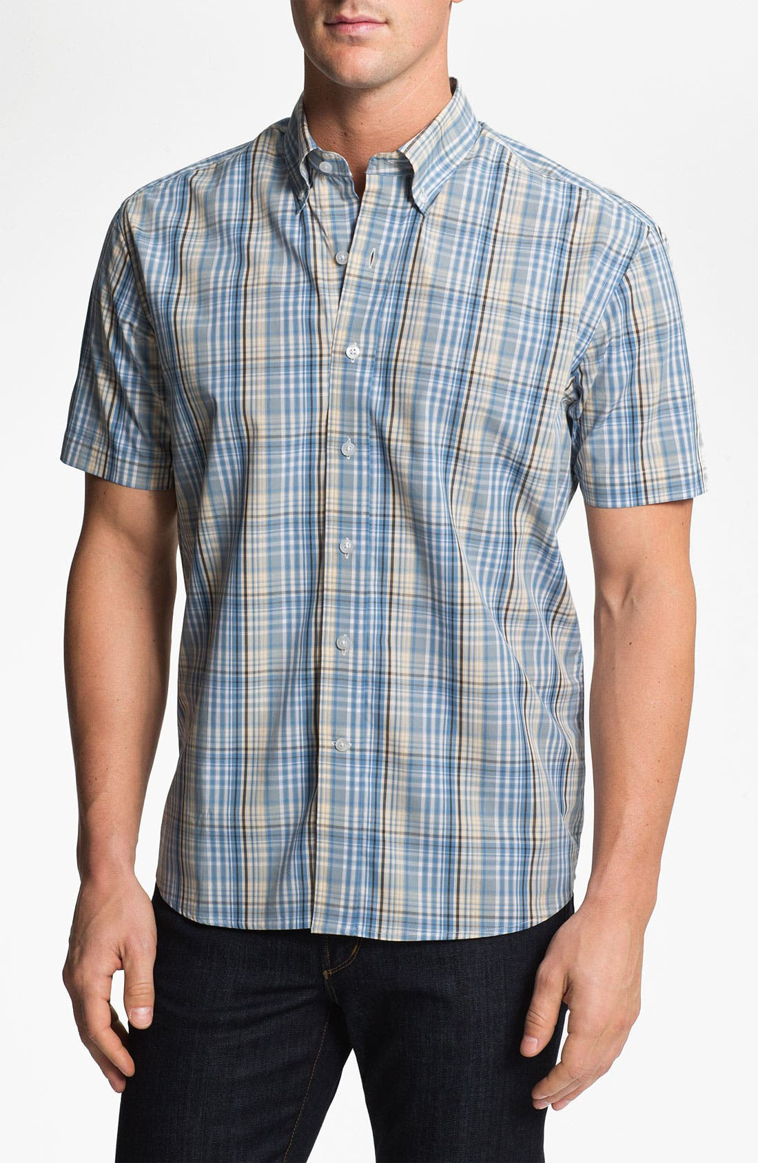 Alternate Image 1 Selected - Cutter & Buck 'Leary' Plaid Sport Shirt (Big & Tall)
