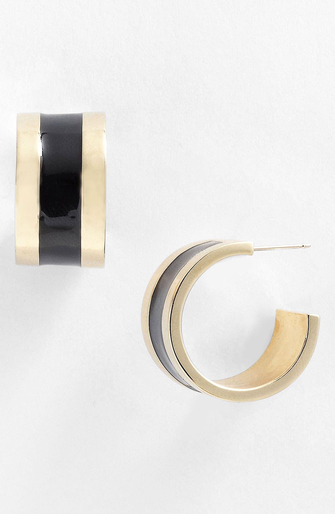 Alternate Image 1 Selected - St. John Collection Light Gold & Enamel Hoop Earrings