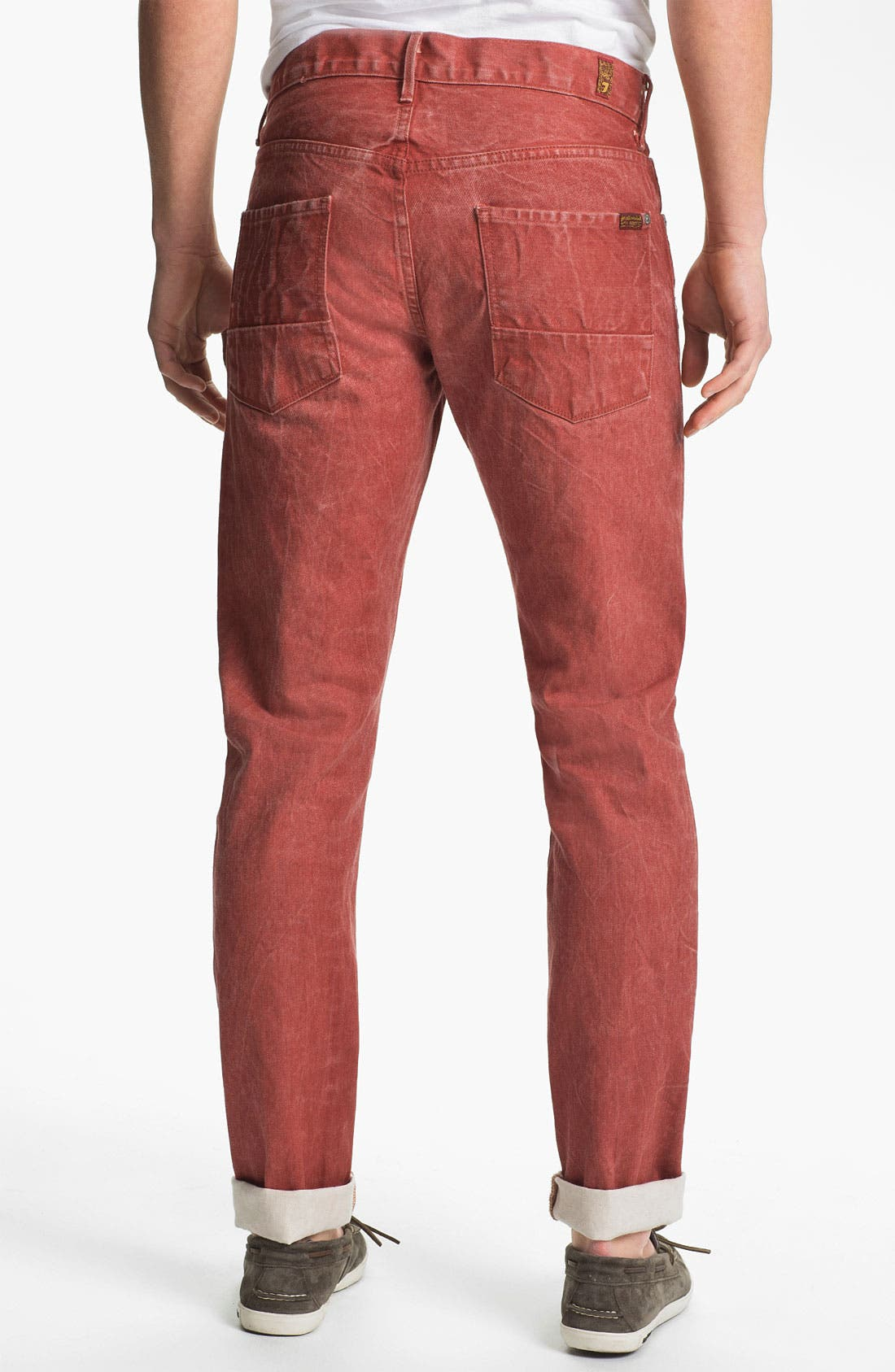 Main Image - 7 For All Mankind® Straight Leg Selvedge Jeans (Passion Red)
