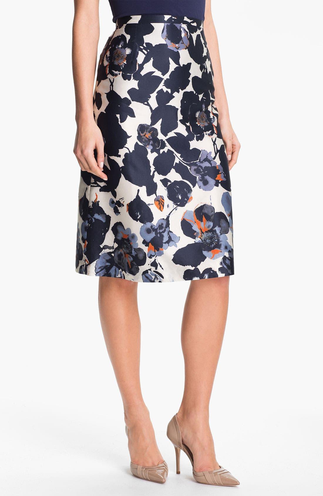 Alternate Image 1 Selected - BOSS Black 'Vanas' Silk & Cotton Skirt