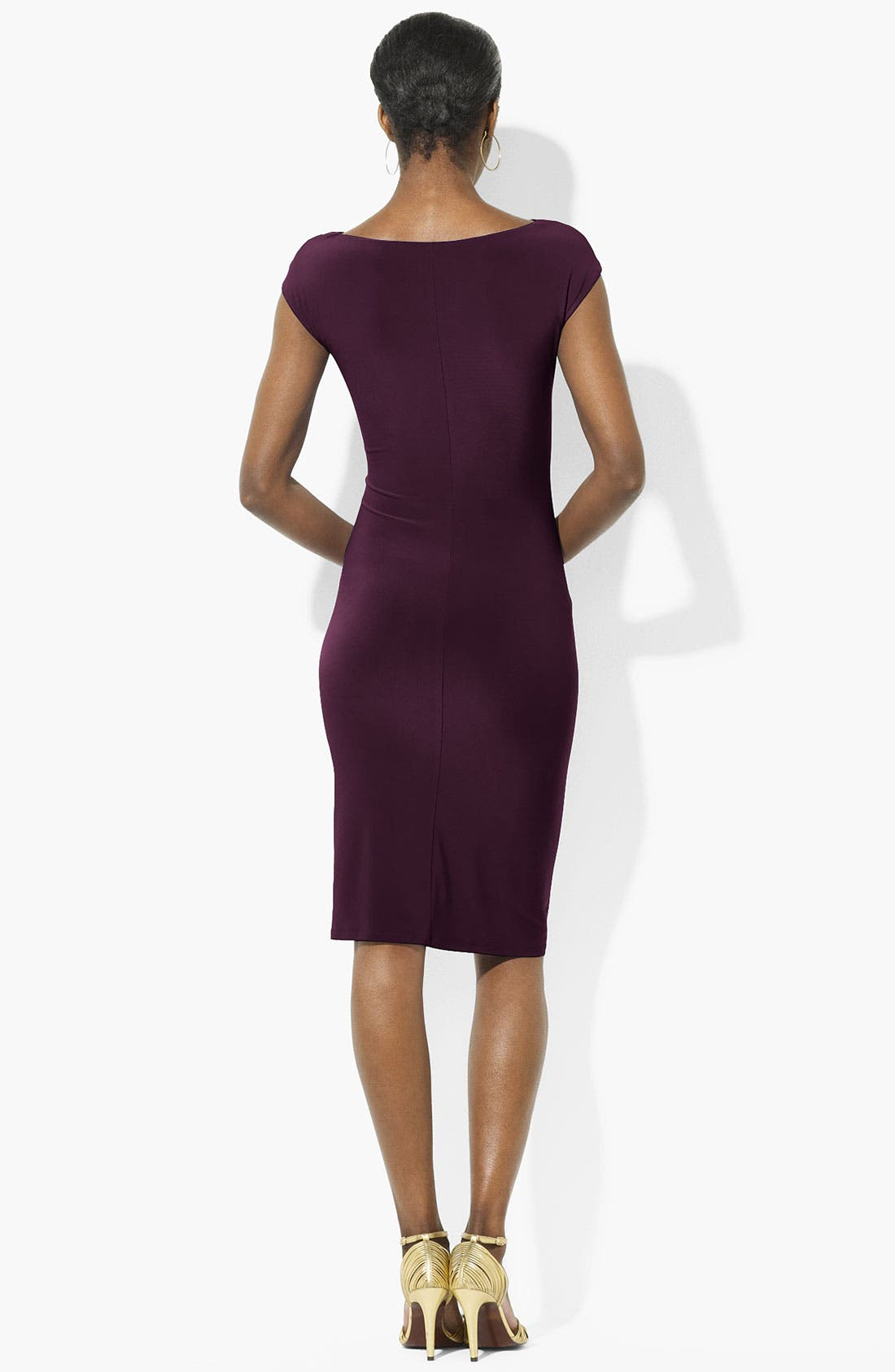 Alternate Image 2  - Lauren Ralph Lauren Cowl Neck Jersey Sheath Dress