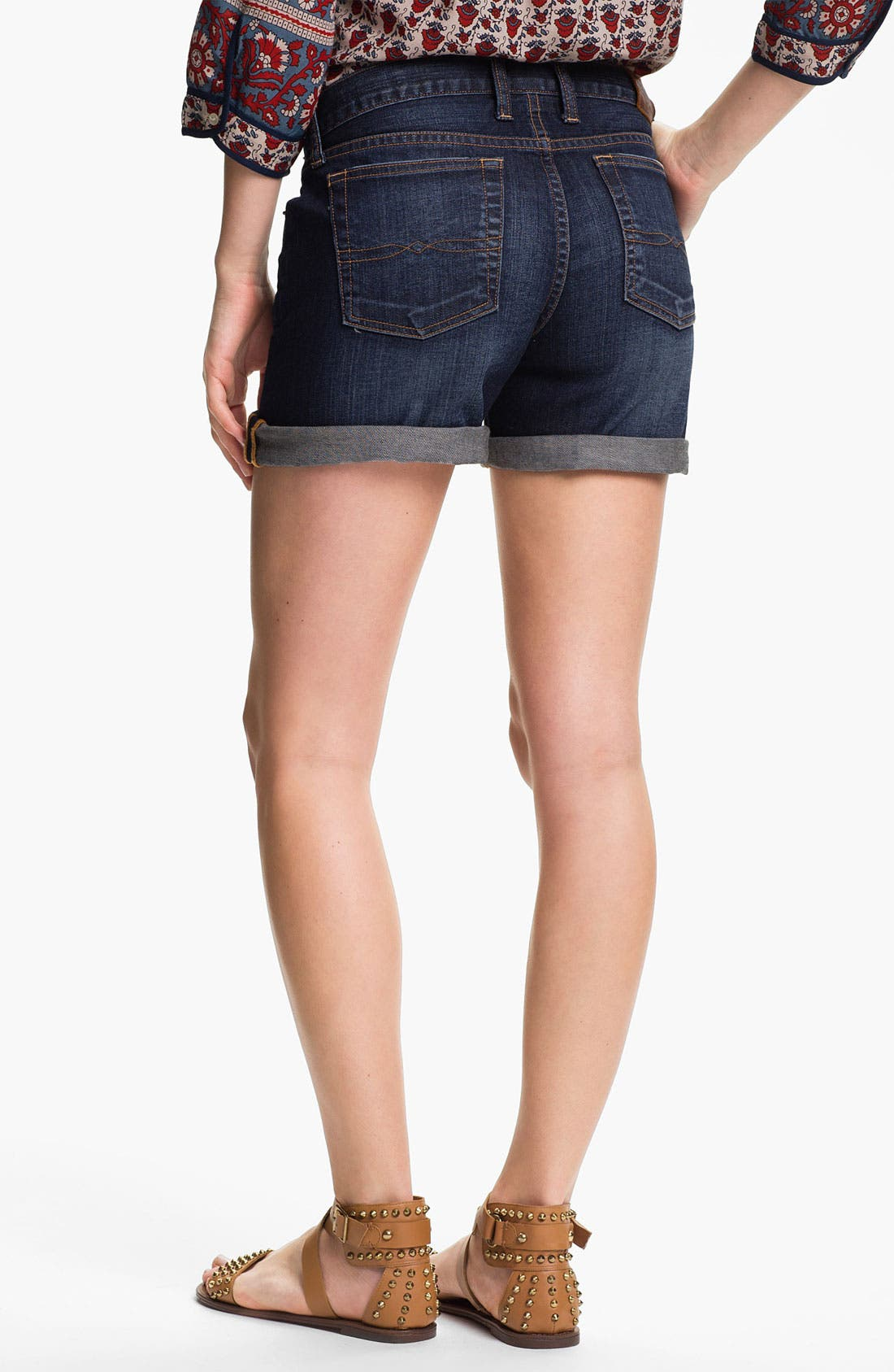 Alternate Image 2  - Lucky Brand 'Abbey' Double Roll Denim Shorts (Dark Helms)