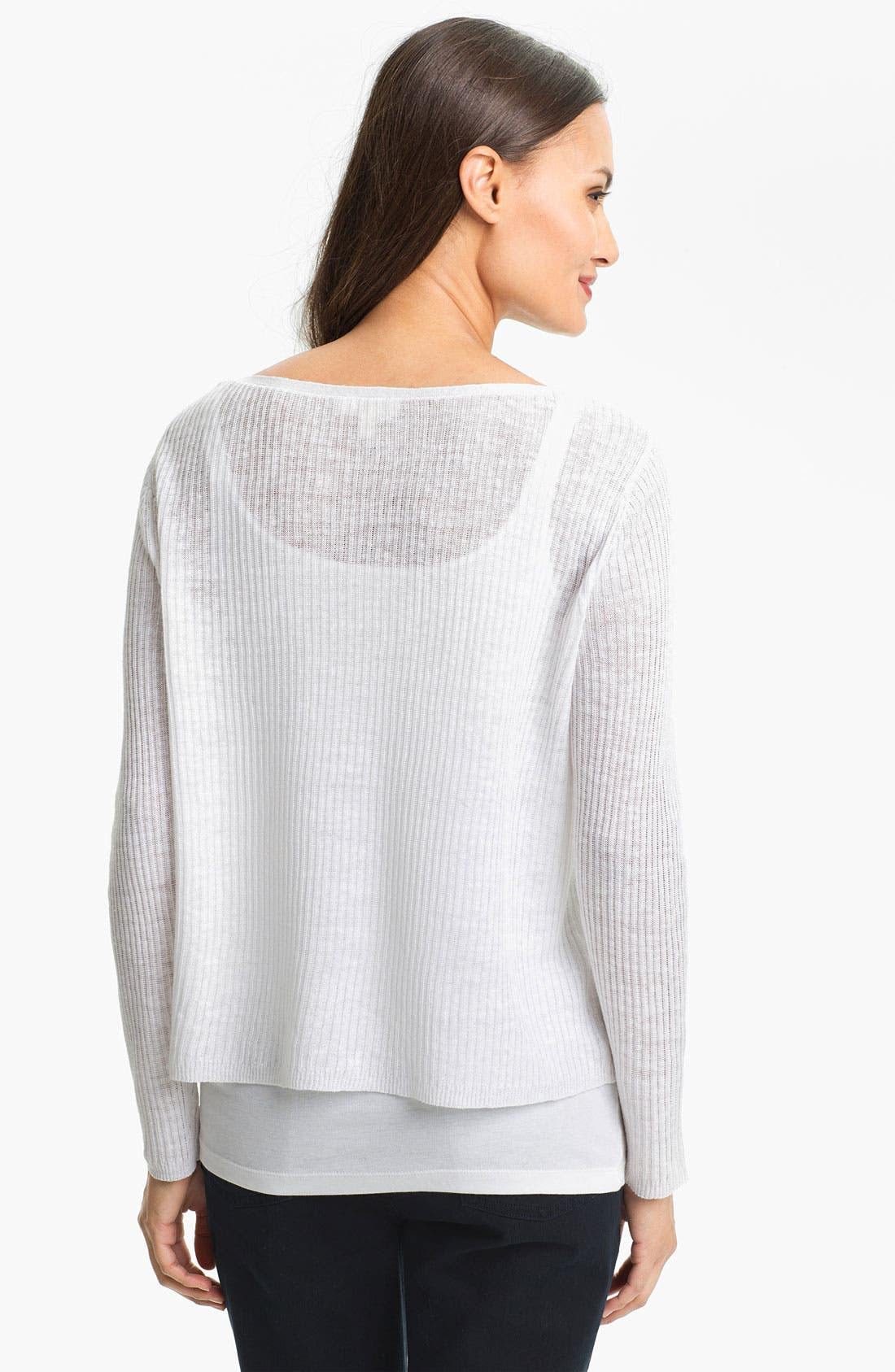 Alternate Image 2  - Eileen Fisher Ribbed Linen Top (Petite)