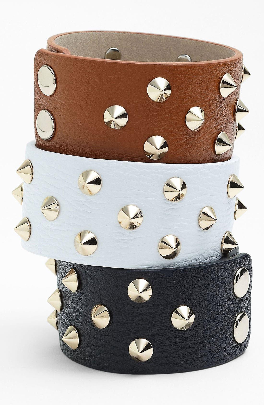 Main Image - Cara Studded Leather Bracelet