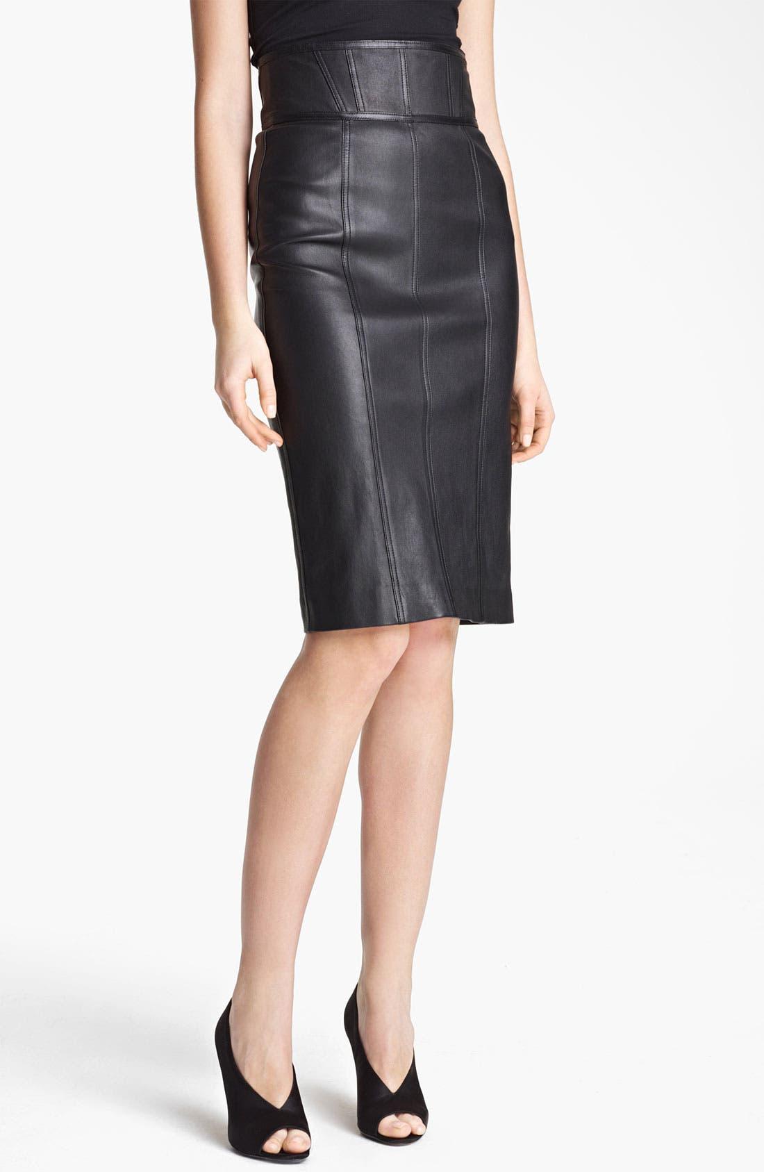 Main Image - Burberry London High Waist Leather Skirt