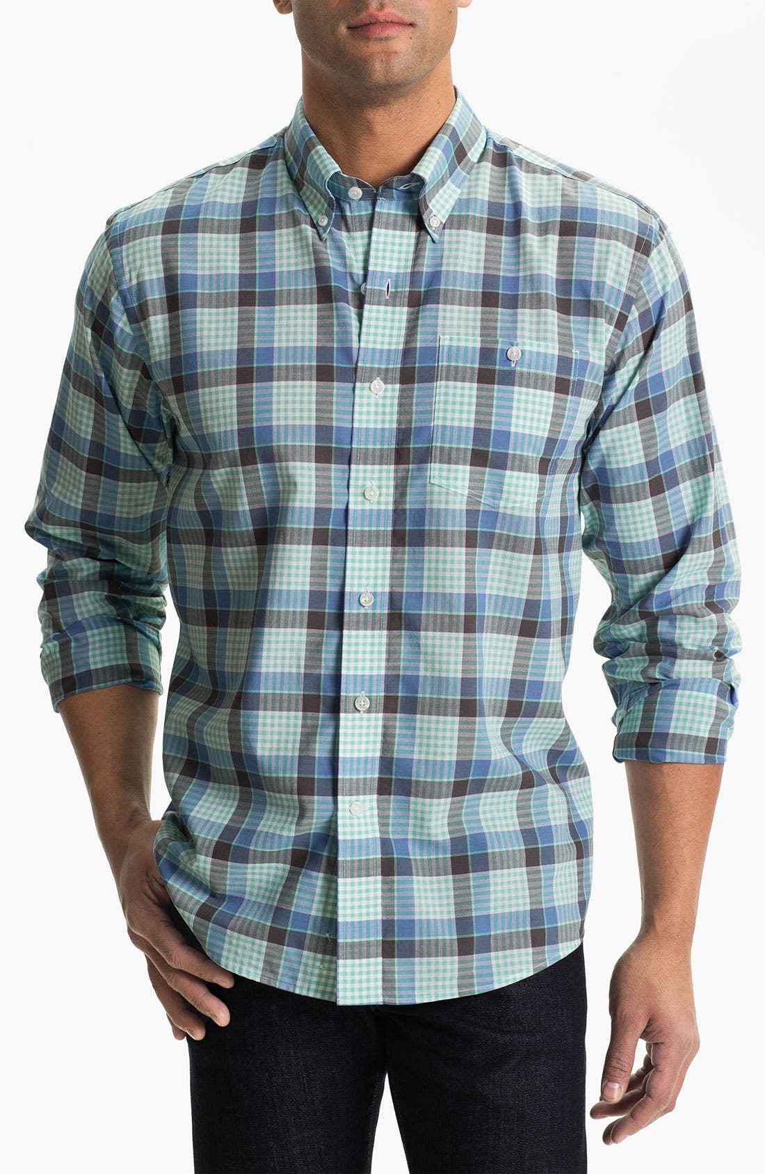 Main Image - Cutter & Buck 'Tabor Plaid' Classic Fit Sport Shirt (Big & Tall)