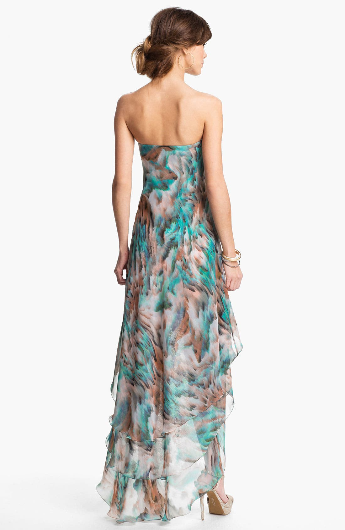 Alternate Image 2  - La Femme Tiered High/Low Chiffon Gown