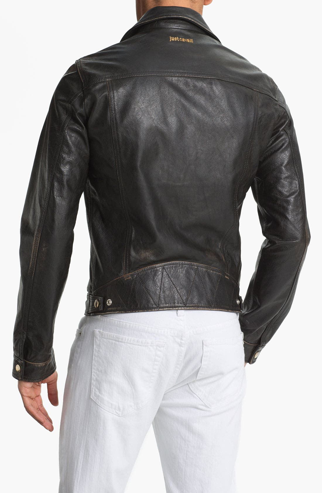 Alternate Image 2  - Just Cavalli Leather Moto Jacket