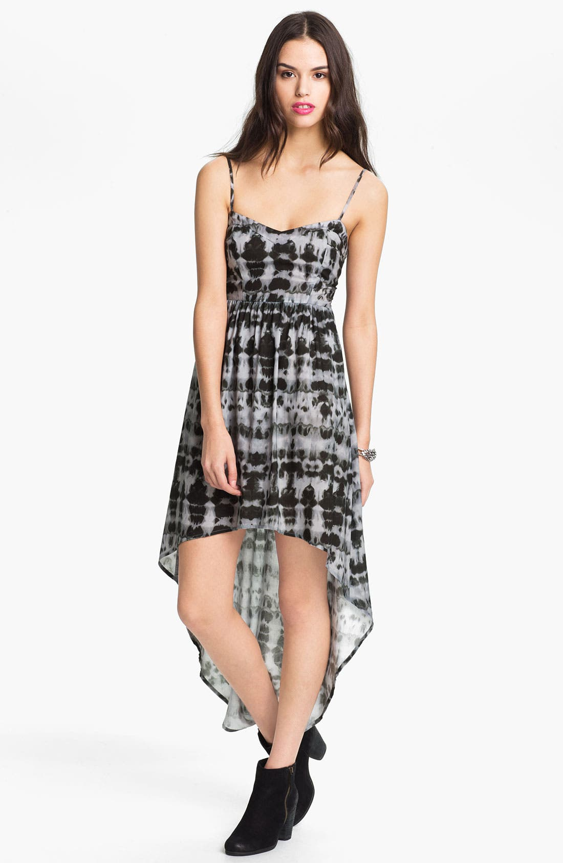 Main Image - Mimi Chica Tie Dye High/Low Dress (Juniors)