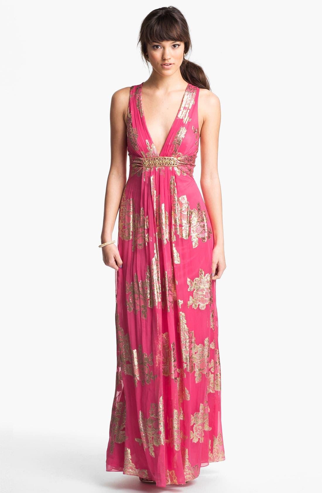 Main Image - Xscape Embellished Metallic Chiffon Gown
